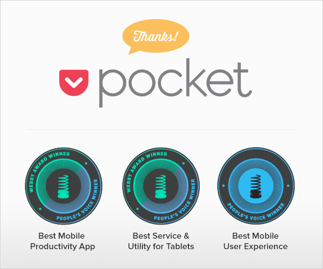Pocket Wins Two Webby Awards and Three People's Voice Awards