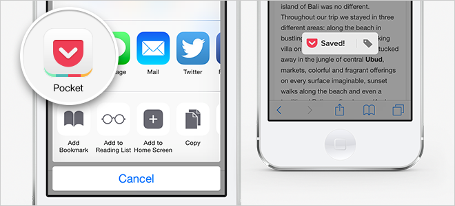 Pocket Share Options in iOS 8
