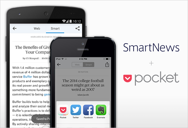 SmartNews Launches Popular News App In the U.S. with Pocket Built-In