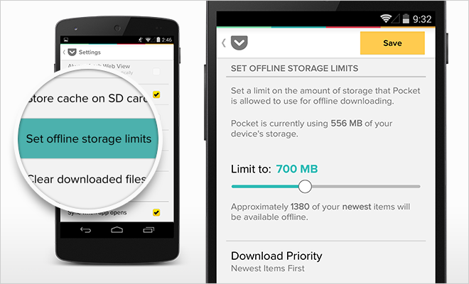 Pocket 5 6 for Android: Offline Storage Control, Quick Deleting, and
